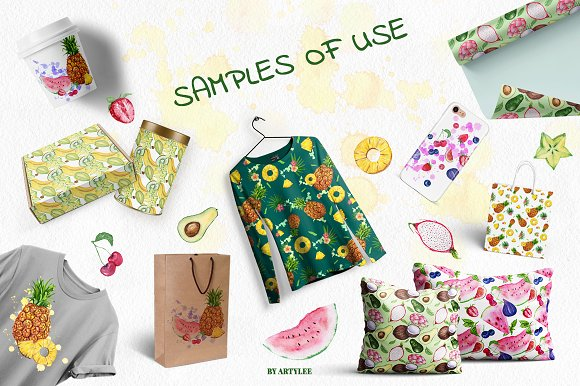 Exotic freshness Watercolor Set in Illustrations - product preview 5