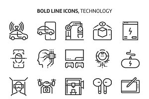 Technology, bold line icons