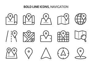 Navigation, bold line icons