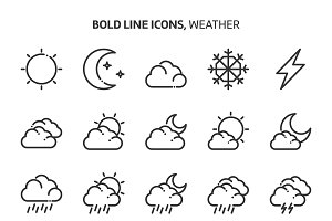 Weather, bold line icons.
