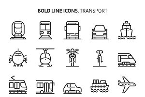 Transport, bold line icons