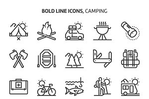 Camping, bold line icons