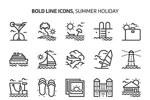 Summer holiday, bold line icons