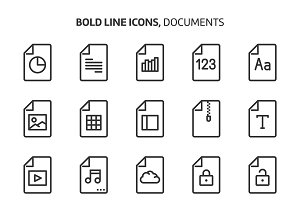 File types, bold line icons.