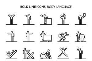 Body language, bold line icons