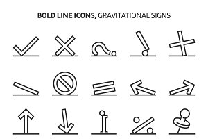 Gravitational signs, bold line icons