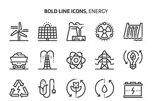 Energy, bold line icons