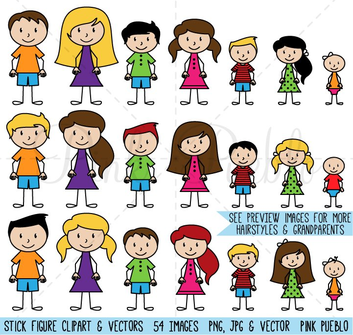 Stick Figure Family Clipart & Vector ~ Illustrations ...