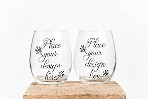 2 Stemless double wine glass mockup