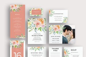 Pastel watercolor floral invitation
