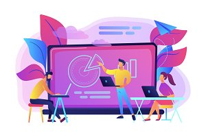 Digital classroom concept vector