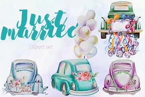 Watercolor Just Married Clipart