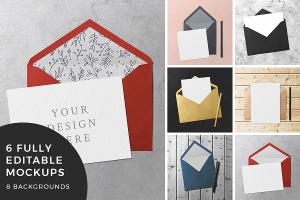Greeting Card & Envelope Mockups