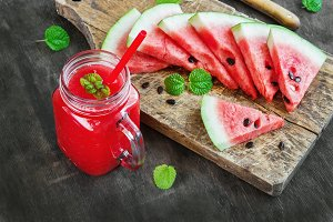 Watermelon juice and pieces of