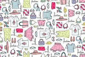 Pattern with summer clothes