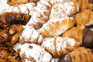 assortment of chocolate croissants