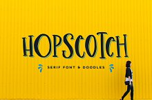 Hopscotch Font + Doodles by  in Slab Serif Fonts
