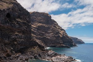Volcanic Coastline and cliffs.