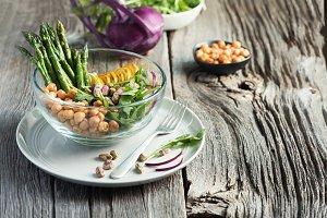 Vegetarian salad, Buddha bowl