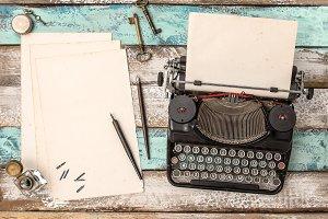 Vintage typewriter grungy paper shee