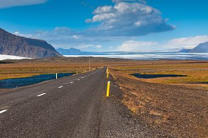 Highway through South Icelandic land