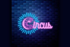 Vintage circus emblem glowing neon