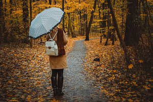 Girl with umbrella on the autumnal
