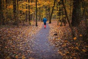 Ghostly sport hike figure in