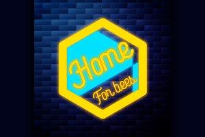 Vintage honey emblem glowing neon