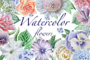 Watercolor flowers.