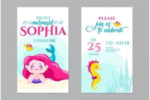 Mermaid birthday cute invite card