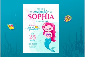 Mermaid birthday cute invite card