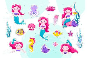 Mermaid cute stickers, cartoon