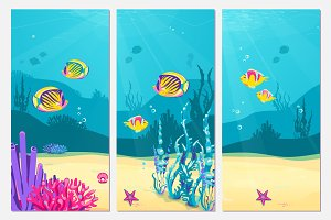 Underwater scene cartoon flat