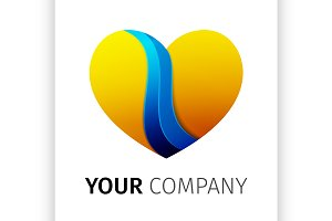 Yellow and blue heart Logo design