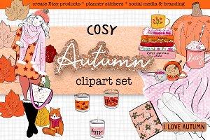 Autumn Fall fashion clipart set