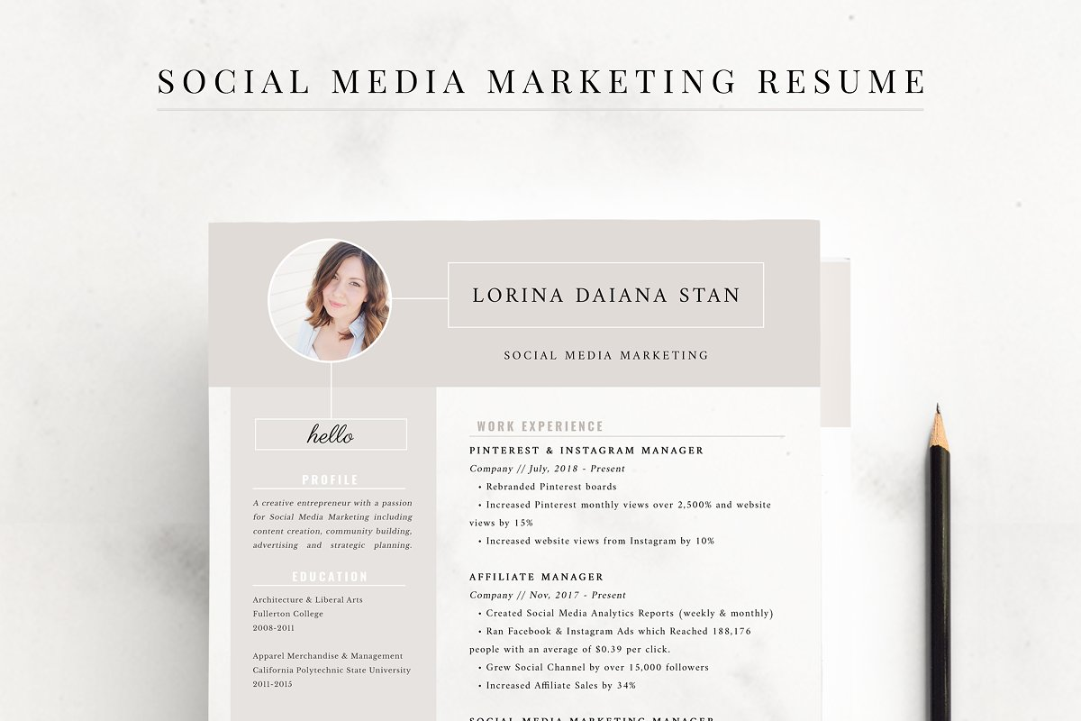 Resume Social Media Marketing Templates Creative Market