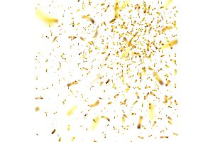 Golden confetti with ribbon. Falling