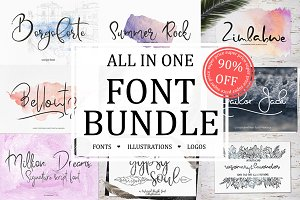 Font Bundle Sale+illustrations,logos