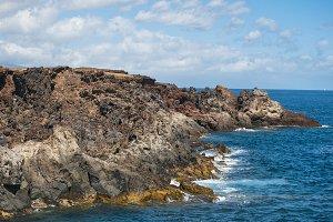 Volcanic coastline landscape