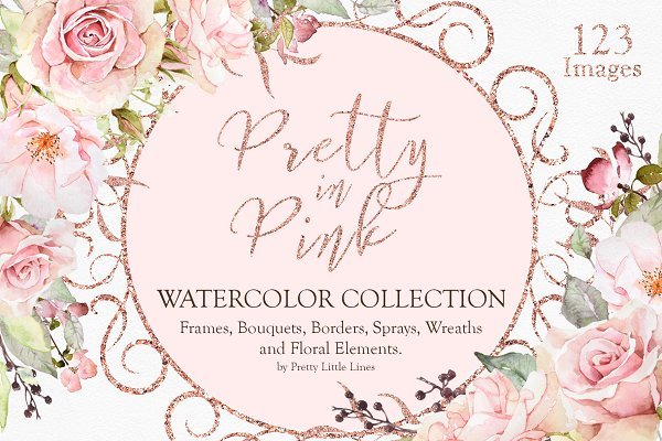 Pretty in Pink Watercolor Collectio…