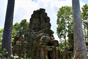 Cambodian Temple with Trees