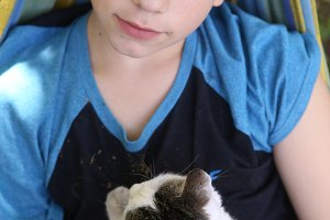 teenager boy with cat in hummock nap