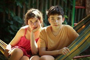 teenager siblings boy and girl