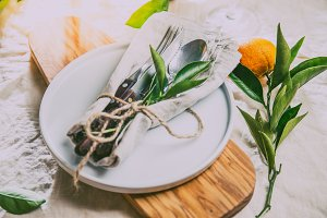 Table setting with white plate