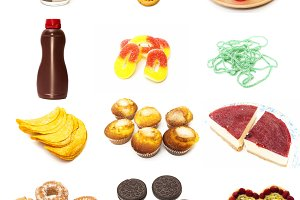 Food collage type pastries