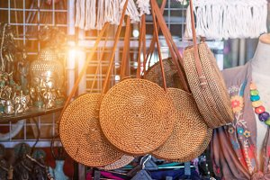 Rattan round bags at a street shop