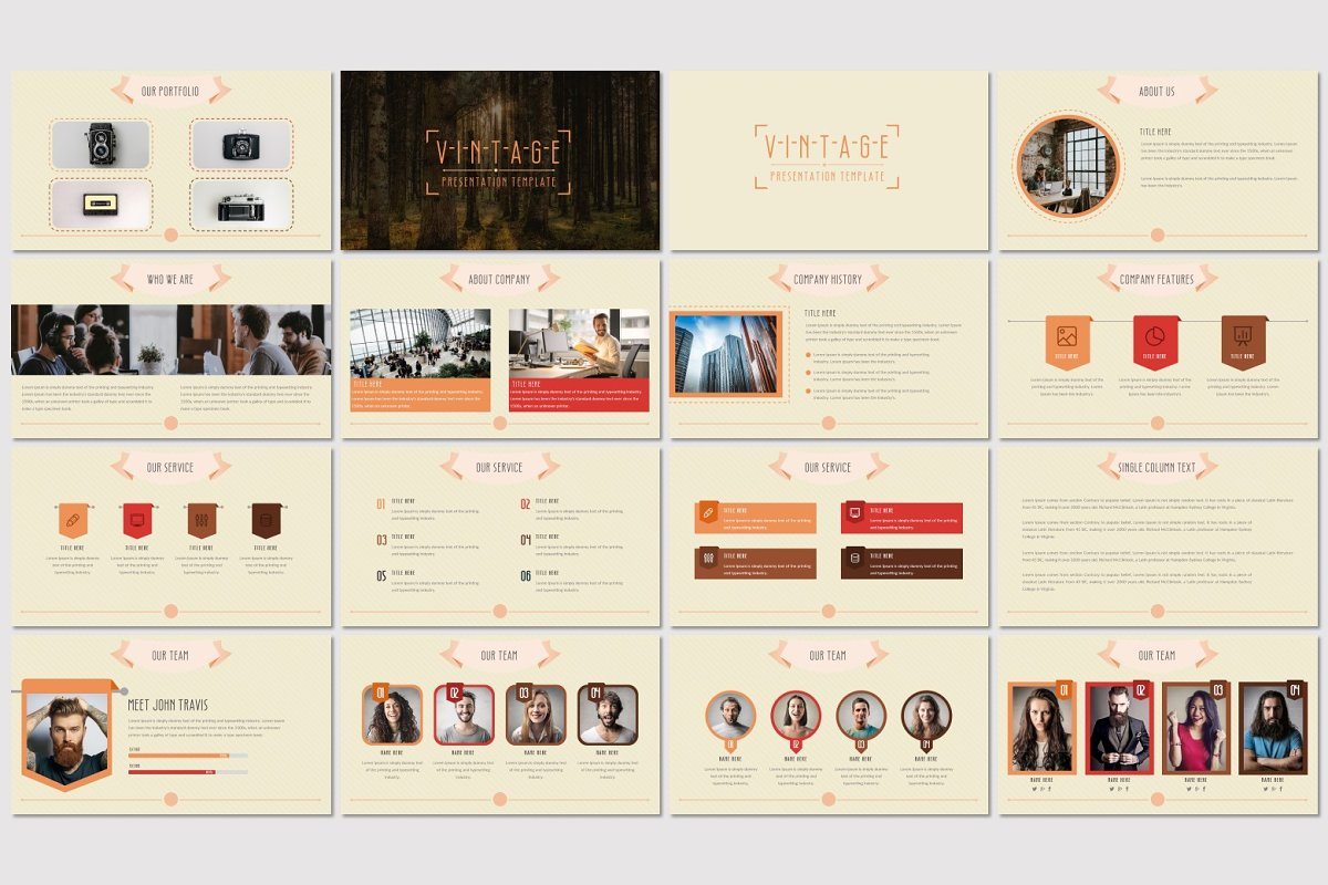 83d10655c VINTAGE - Powerpoint Template ~ Presentation Templates ~ Creative Market