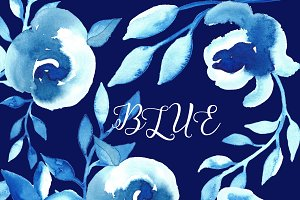 Bleu flowers Watercolor clip art