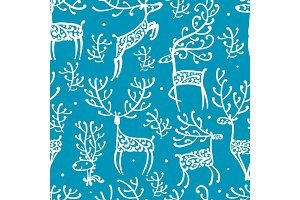 Ornate deers, seamless pattern for